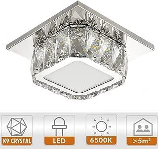 Ganeed Modern LED Ceiling Light,7.9Inch Stainless Steel K9 Crystal Flush Mount Lights Fixture,Mini Square Chandelier Ceiling Lamp for Dining Room Living Room Bedroom Hallway (12W / 6500K / Cool White)