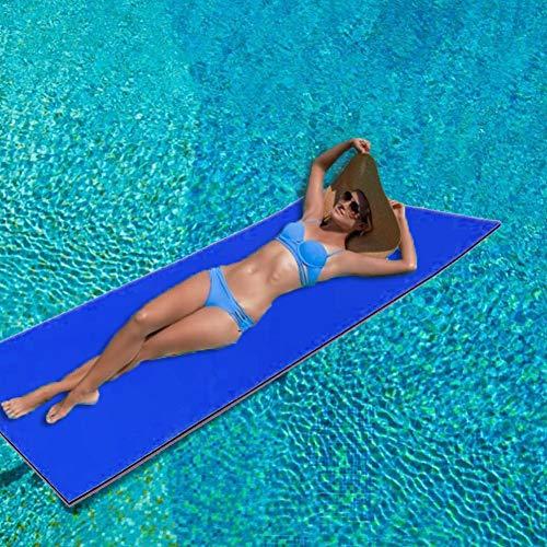 Schwimmende Wassermatte für Wasser-Erholung und Entspannung, 2/3 Schicht reißfeste XPE-Schaumstoff-Schwimmmatte, aufrollbare Pool-Schwimmmatte für Strand, See, Pool und Ozean (blau)