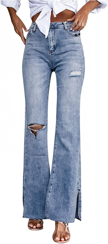 Larisalt Jeans for Women High Waist, Womens Fashion Ripped Flared Jeans Slim Fit Skinny Denim Pants Plus Size