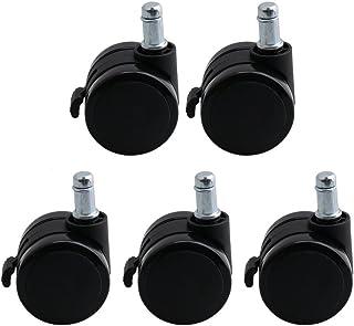 Yibuy - 5 Ruedas giratorias de Poliuretano Negro para Silla de Oficina (50 mm de