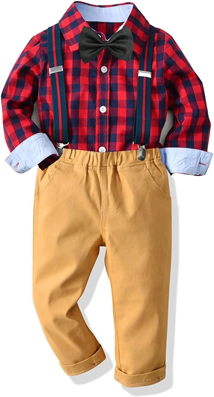Little Boys Suspender outfits Toddler 4 Pcs Gentleman Outfits Kids Bowtie Dress Shirt & Pants Set 1-8 Years