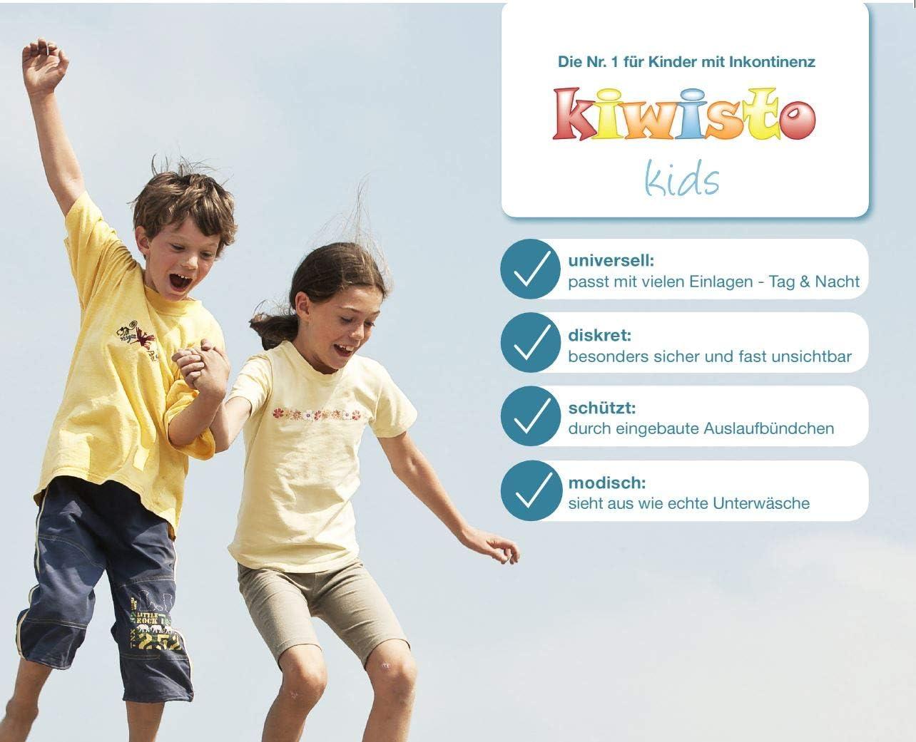 110//116 3XS - Inkontinenz-Schutzhose f/ür Kinder grau kiwisto Kids ActivePants