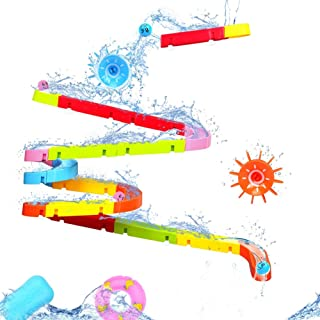Fajiabao Bath Toys Slide Splash Water Ball Track Stick to Wall Bathtub for Toddlers DIY Waterfall Pipe and Tubes Tub Toys ...