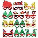 kungfu Mall 12 Piezas Gafas de Navidad de Novedad,Gafas de Fiesta Brillo Creativo Navideñ...