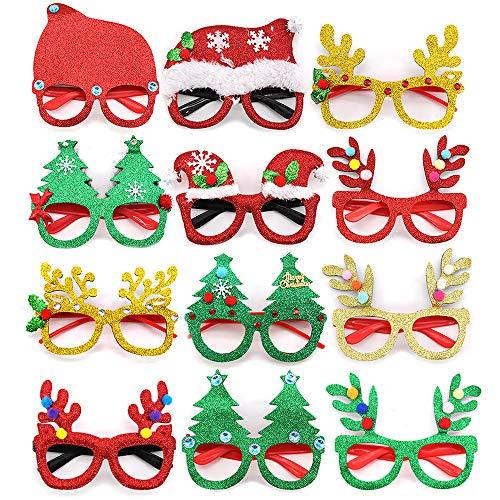 kungfu Mall 12 Piezas Gafas de Navidad de Novedad,Gafas de Fiesta Brillo...