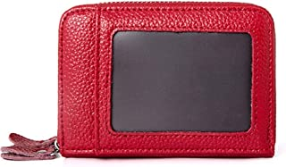 Increased Leather Card Holder Double Zipper Leather Wallet Multifunction RFID Anti-Theft Credit Card Cover Unisex (Color : Red, Size : S)