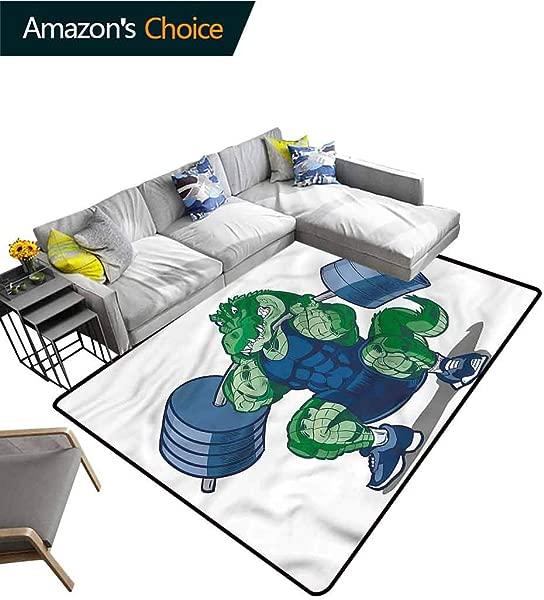 TableCoversHome 孩子新奇浴室地毯卡通鳄鱼图案印刷门垫耐用地毯面积地毯的客厅饭厅卧室的地毯和地毯月个月