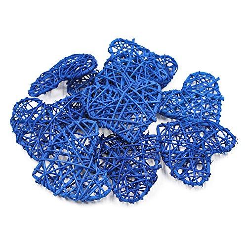 Lot de 20 cœurs en rotin naturel pour Noël, fête d'anniversaire et maison, décorations de fête de mariage 7 cm, bleu marine, 7 cm