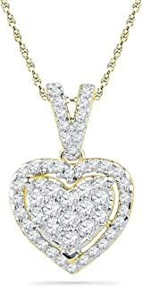 Diamond Heart Pendant 10k Yellow Gold Love Charm Fashion Style Round Cluster Set Polished Fancy 1/5 Cttw