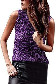 Women Leopard Print Vest Sexy Slim Sleeveless T-Shirts Tank Tops