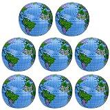 8 Pièces Globe Gonflable PVC Globe Terrestre Gonflable Globe de Balle pour Jouer à la Plage ou l'enseignement,16 Pouces