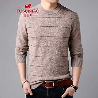 富贵鸟秋冬季羊毛衫中年男士打底衫保暖圆领针织100% 羊毛毛衣男