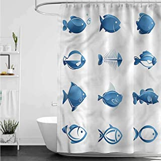 homecoco Shower Curtains Teal and Brown Fish,Array of Fish Marine Life W69 x L90,Shower Curtain for Men