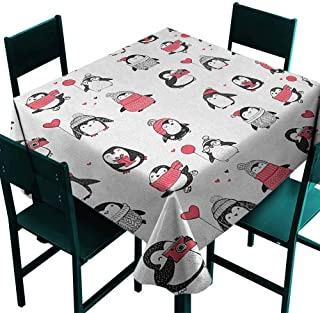 Warm Family Winter Polyester Tablecloth Cute Penguins Hand Drawn Merry Christmas Greetings Babies Kids Toddler Indoor Outdoor Camping Picnic W36 x L36 Dark Coral Black White