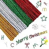 Glitter Pfeifenreiniger,400 Stück Weihnachtsmetallic Chenilledraht Bunt Lametta Chenille Stiele für DIY Kreatives Basteln,Kunst,Hochzeit,Zuhause,Party,Weihnachtsdekoration(Rot, Gold, Silber, Grün)