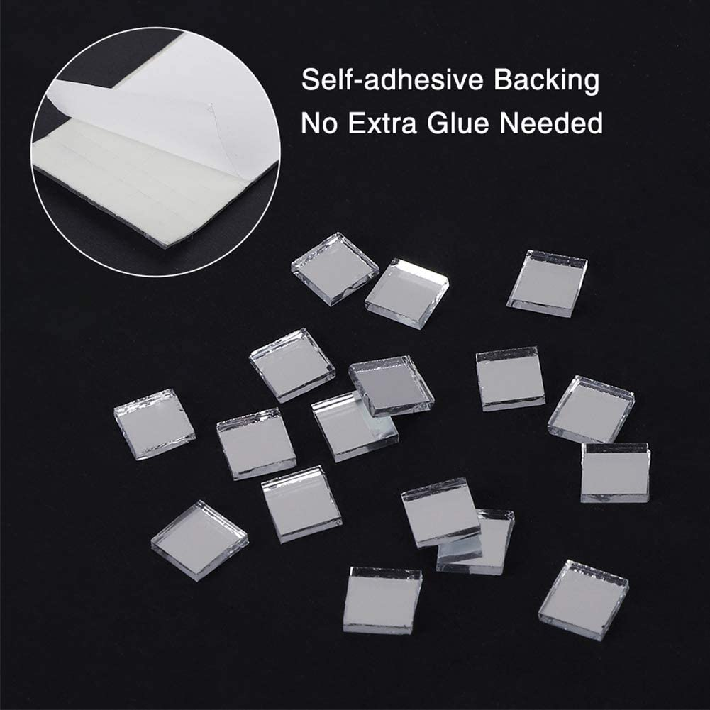 Xpccj 1464pcs//roll Square Adhesive Mosaic Tiles Mini Mosaic Glass Pieces Multicolor Vitreous Glass Mixed Color Glitter Crystal Mirror Stickers with Self-Adhesive Backing for DIY Crafts