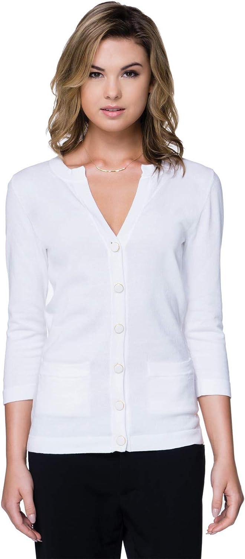 Tri-Mountain Women's Gold Trim Pocket Cardigan Sweater, White, XX-Large