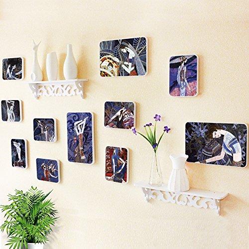 6. Fotolijst, wanddecoratie, woonkamer, muur, fotolijst, creatieve combinatie van geïntegreerde plank.