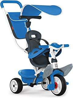 Smoby 741102 – babybaladen blå – barntrehjuling med tryckstång, säte med säkerhetsbälte, metallram, pedalfrihjul, för barn...