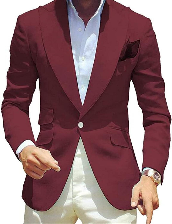 One Button Men Suits(Jacket+Pants) Peak Lapel Slim Fit Blazer Wedding Grooms Tuxedo