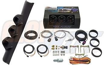 GlowShift Diesel Gauge Package for 1994-1997 Dodge Ram Cummins 2500 3500 - Black 7 Color 60 PSI Boost, 1500 F Pyrometer EGT & 30 PSI Fuel Pressure Gauges - Black Triple Pillar Pod