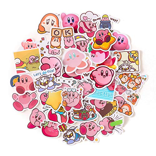 40Pcs/Pack Lovely Cartoon Kirby Star Stickers for Suitcase Skateboard Laptop Luggage Fridge Phone Car DIY Decal Sticker Toys