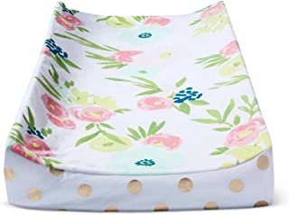 Cloud Island Plush Diaper Changing Pad Cover Floral and Gold Dots,Blue