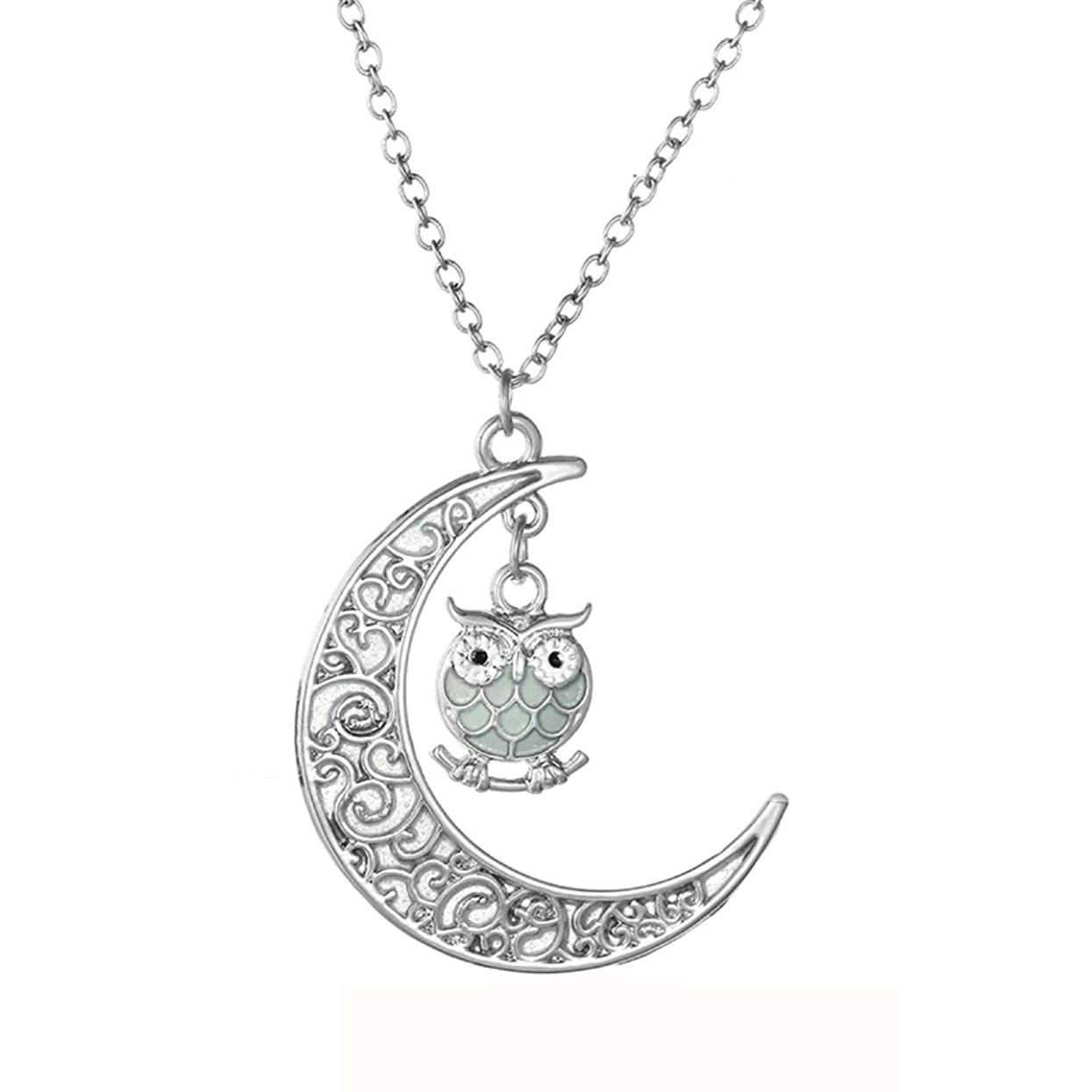 URDEAR Luminous Series Moon Charms Pendant Necklace Glowing in The Dark Moon Necklace Jerwelry Gifts for Women Girls w36406536870856