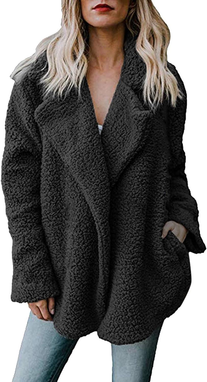 Women's Fleece Jacket Coat Faux Fur Winter Warm Lapel Coat Solid Color Long Sleeve Cardigan Outerwear With Pockets