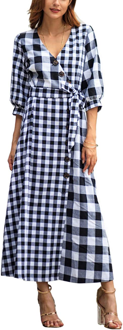 Gihuo Women's Vintage V-Neck Plaid Maxi Dress with Slit