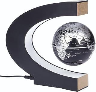 Aibecy C. Mapamundi magnético con levitación. Planisferio. Globo terráqueo con rotación y luces de LED para aprender. Enseñanza, demostración, casa y escritorio. Decoración. Regalo creativo