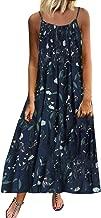 Women Vintage Bohemian Print Floral Sleeveless O-Neck Straps Casual Maxi Dress