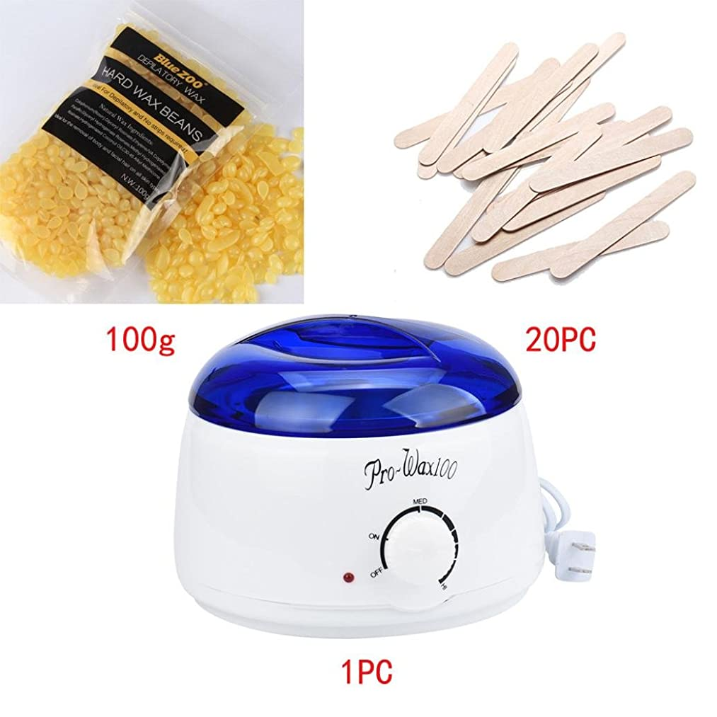 Hair Removal Electric Home Waxing Kit Hot Wax Warmer Wax Heater Rapid Melt Hard Wax (1x Waxing Heater+1x100g Hair removal wax+20xWiping sticks)-KingWo (F)
