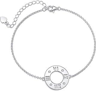 Aroncent 925 الفضة الاسترليني مع زركونيا سوار منقوش على شكل سلسلة ربط أساور للنساء، عيد ميلاد الحب