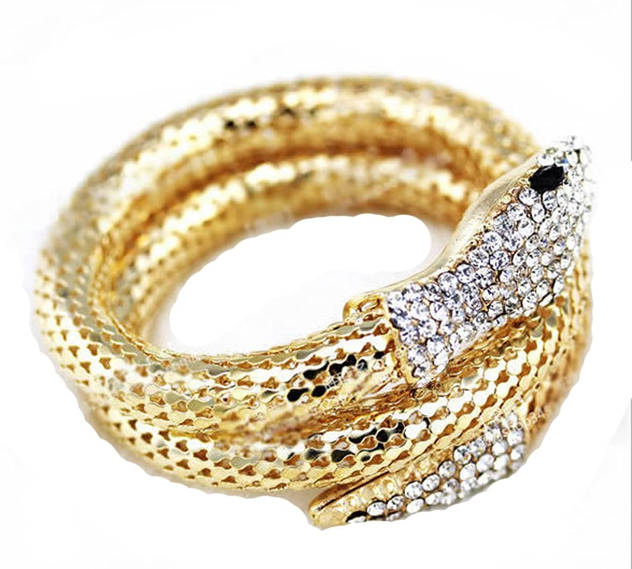 Dwcly Personnaliry Titanium Steel and Crystal Lifelike Thick Snake Stacking Wrap Wrist Cuff Bangle Bracelet