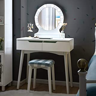 Giantex Giantex Vanity Set with Round Lighted Mirror, Makeup Dressing Table with 8 Light Bulbs and Brightness Adjustable, Bedroom Makeup Table with Cushioned Stool and 2 Sliding Drawers (White)