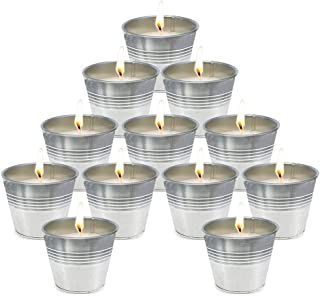 Citronella Candles Outdoor Small Metal Bucket Candle Soy Wax Fly Candle Use for Outdoor and Indoor - 12 Pack