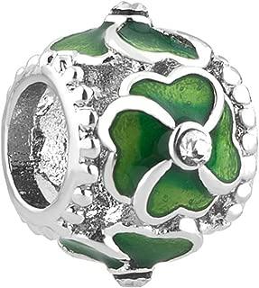 CharmSStory 4 Four Leaf Clover Charms Green Enamel Beads For Charm Bracelets