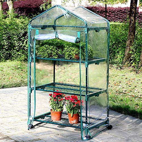Sungmor 3-Tier bewegliches Gartengewächshaus mit Rädern - 69 × 49 × 130 cm Klare PVC-Abdeckung -...
