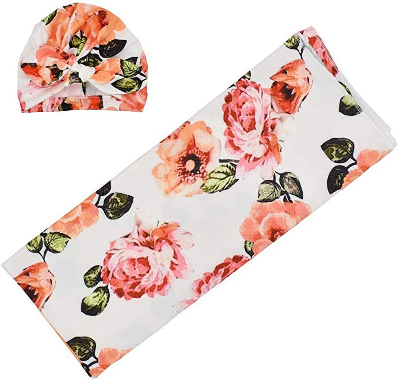 Baby Swaddle Blanket Moonite Infant Receiving Blanket Headband Set With Floral Print Super Soft Skin Friendly Swaddle Blanket For Newborns From 0 3 Months Orange S
