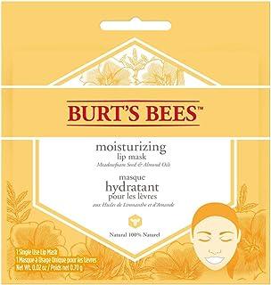 Burt's Bees - Maschera idratante naturale al 100% per labbra, balsamo per la cura delle labbra con semi di schiuma di prat...