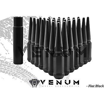 Set of 24 Black Spike Lug Nuts 14x1.5mm Dodge Challenger Charger Magnum Ram 1500