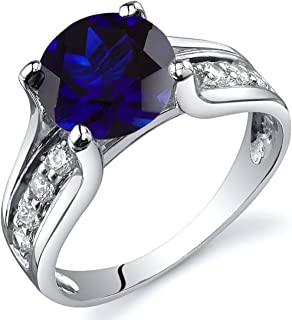 Peora Created Blue Sapphire Cathedral Ring in Sterling Silver, 2.75 Carats, Round, 8MM, Sizes 5-9