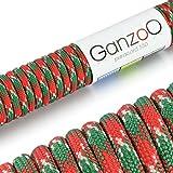 Ganzoo - Cuerda de supervivencia de uso universal de paracaídas (paracaídas de nailon, soporta hasta 250 kg, longitud total: 15 m), color verde, blanco y rojo