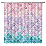 3D Mermaid Scales Shower Curtain Fish Scale Mermaid Geometric Tail Lilac Purple Pink Blue Ocean Theme Dream Fantasy Bathroom Curtains Decor Polyester Fabric Quick Drying 70X70 Inches Include Hooks