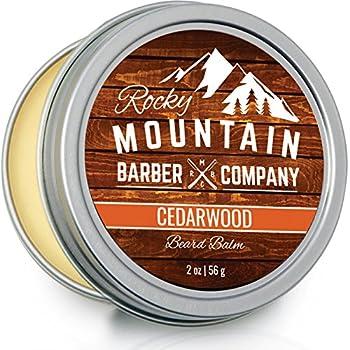 Beard Balm - Rocky Mountain Barber - 100% Natural - Premium Wax Blend with Cedarwood Scent Nutrient Rich Bees Wax Jojoba Tea Tree Coconut Oil