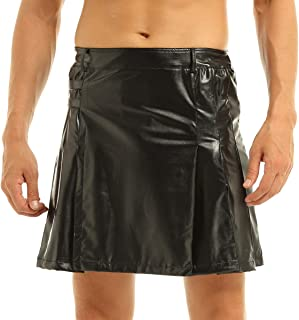Men's Faux Leather Pleated Utility Kilt Flat Front Skirt Costume