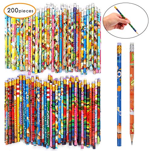 200 Count Pencils With Eraser Tops Colorful Pencils Assorted Designs Perfect For Teachers Children Classrooms and Party Gifts Supplies (200)