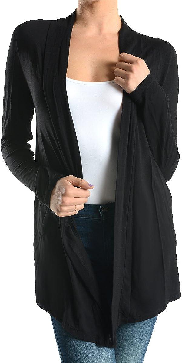 Women's Sofra Open-Front Soft Draped Long Sleeve Cardigan Sweater Longline Tunic,Black