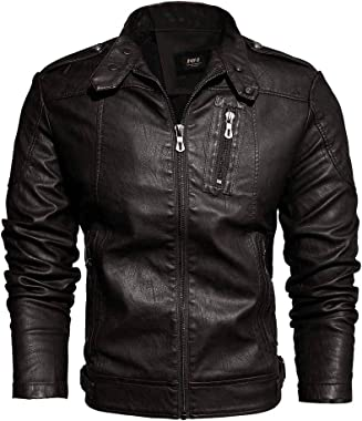 Mens Jacket Leather Vintage Motorcycle Jackets Real Leather Buckle Neck Thermal Jacket Winter Jacket Lining Coat with Zipper